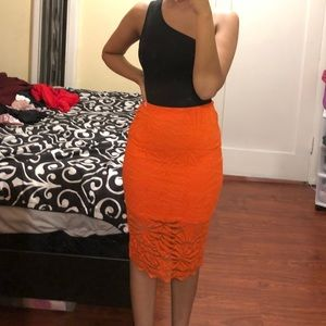 Orange lace midi skirt